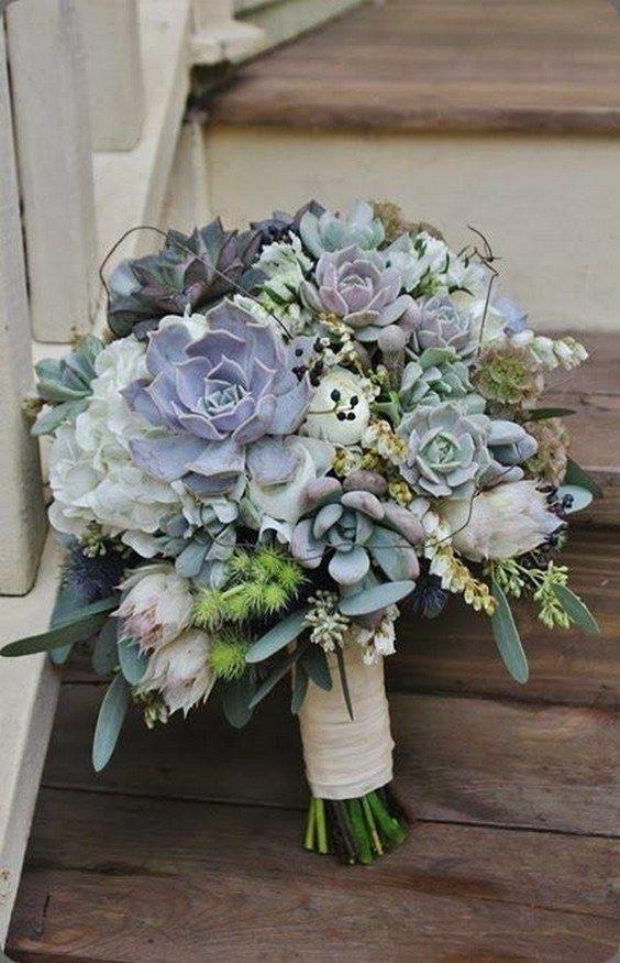grey succulent wedding bouquets / http://www.himisspuff.com/succulent-wedding-decor-ideas/4/