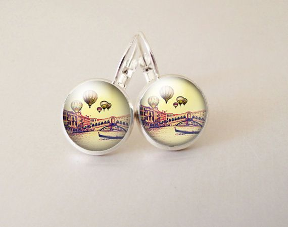Balloon art  glass cab earrings GCB28 by ArtiFartiGifts on Etsy