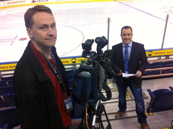 CTV cameraman John Macklin and sports anchor Adam Cook at