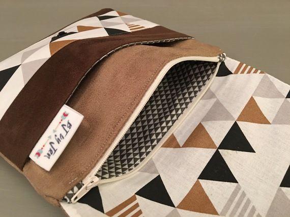 "Pochette de rangement maquillage ""Navajo"" suédine - Pochette de Sac suédine marron - Pochette de sac ethnique"