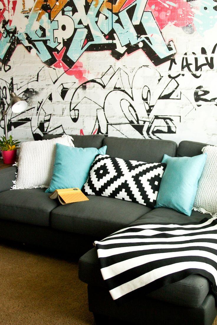 Modern graffiti playroom; tween room; tween lounge; graffiti wall; loft ideas
