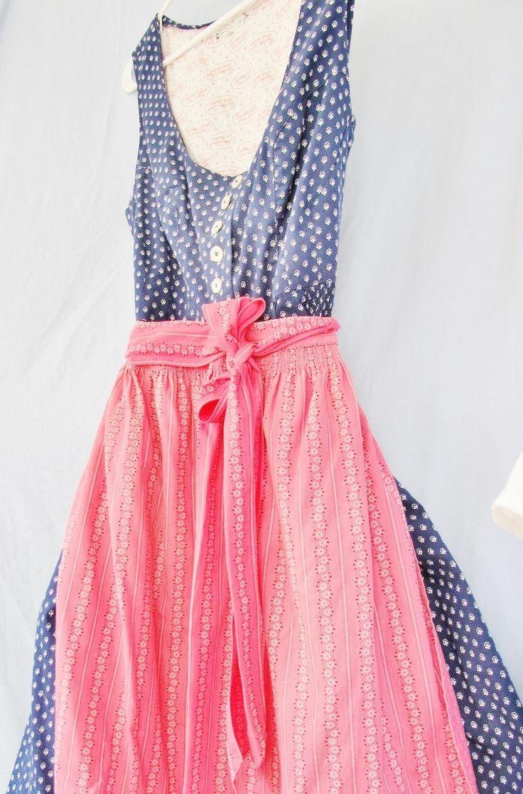 TRACHTEN DIRNDL Dress, Dark Blue, Pink Apron, size 48, US 18, Cotton, Linz Austria, Bavarian, Swiss, Alpine , Traditional Style, Vintage by AlpineCountryLooks on Etsy
