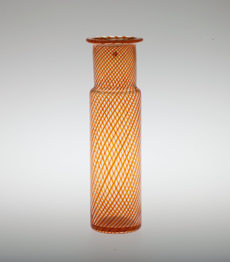 Kerttu Nurminen, orange and yellow filigree glass.