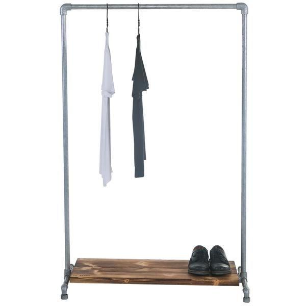 Wood Low Shelf Clothes Rail
