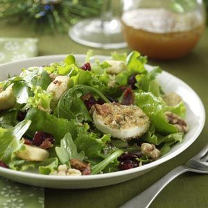Green Salad with Baked Goat Cheese Recipe from Taste of Home -- shared by Deb Morris of Wevertown, New York