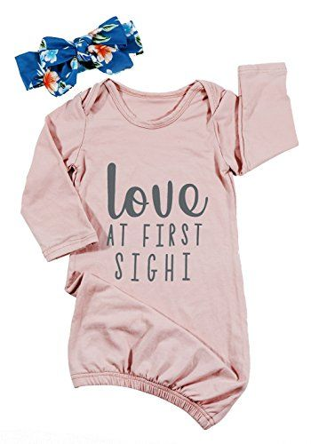 UNIQUEONE Newborn Girls Boys Love at First Sight Letter Print Sleeper Gowns  Long Sleeve Nightgowns 91611a7c0f