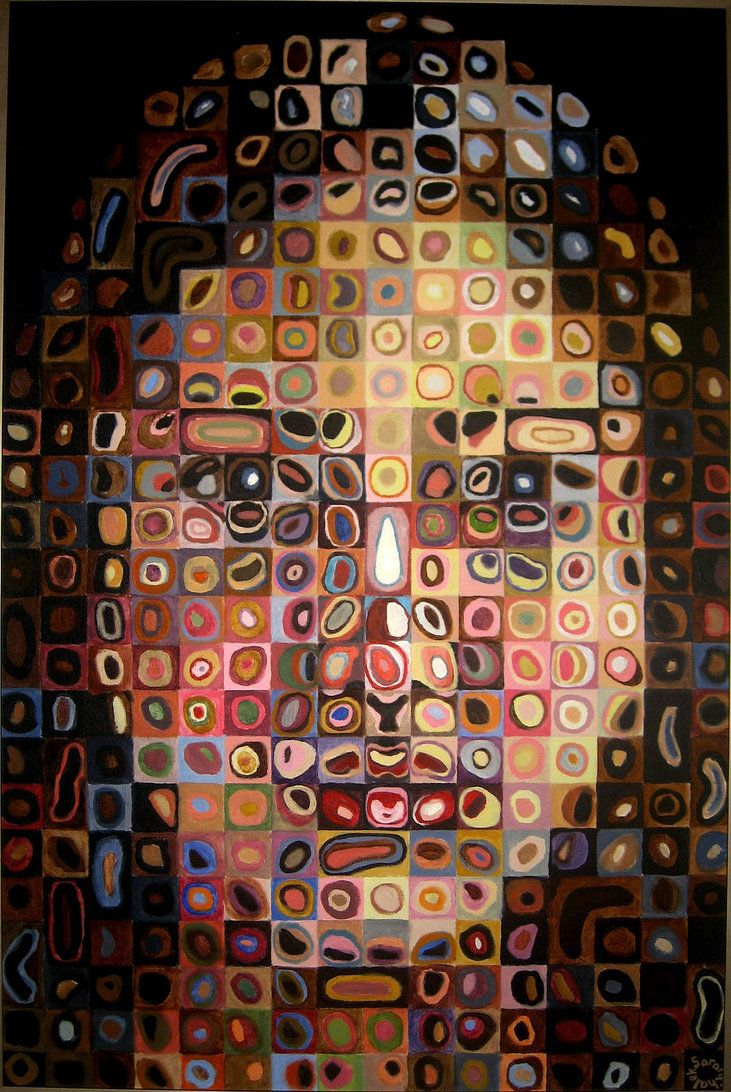Chuck  Close    Google Image Result for http://th09.deviantart.net/fs70/PRE/i/2010/288/7/7/selfportrait_chuck_close_style_by_sarah858-dtgikm.jpg
