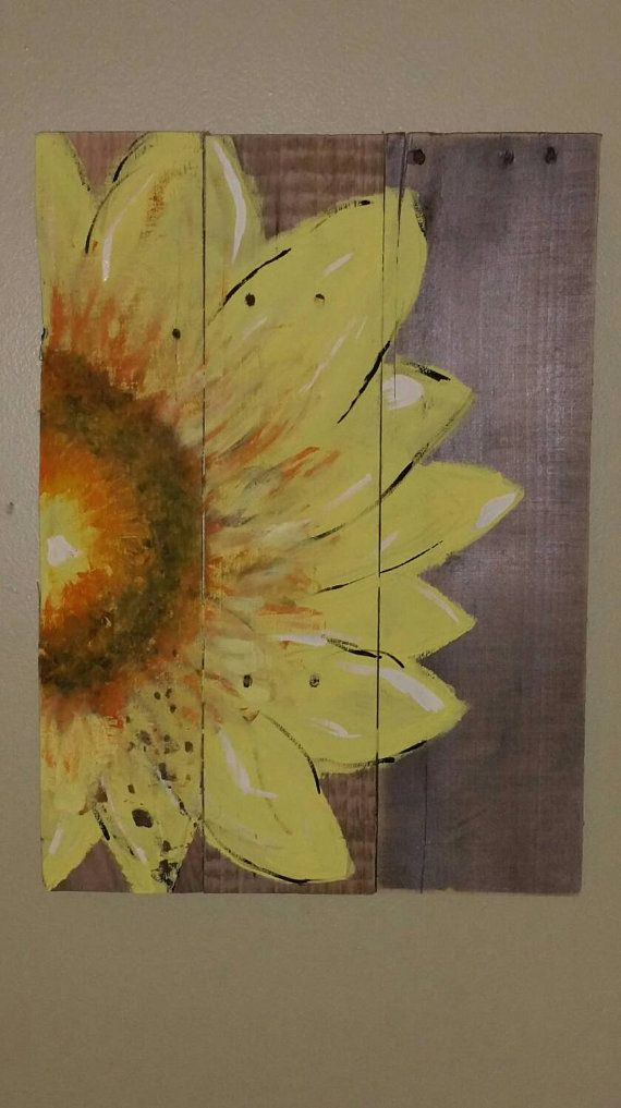 Check out this item in my Etsy shop https://www.etsy.com/listing/234259475/sunflower-sign-made-from-reclaimed-wood
