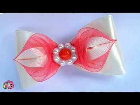 Заколка бант Коралл. Канзаши МК/Hairpin Bow Coral. DIY Kanzashi - YouTube