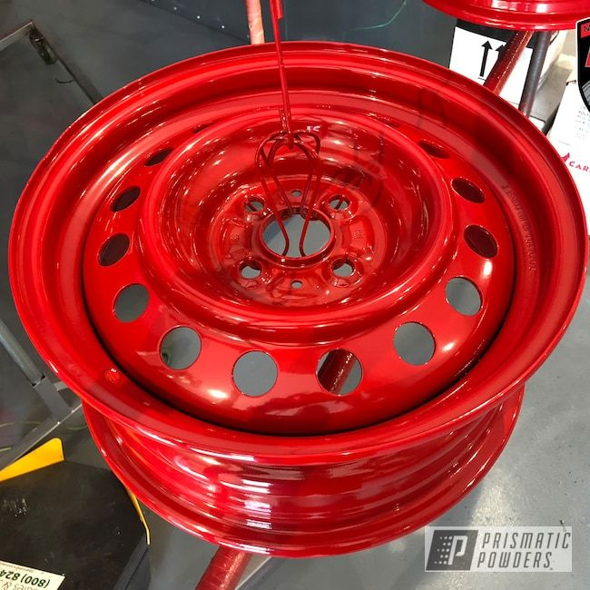 Prismatic Powders Powder Coated Red Steel Rims Steel Rims Rims Rims For Cars