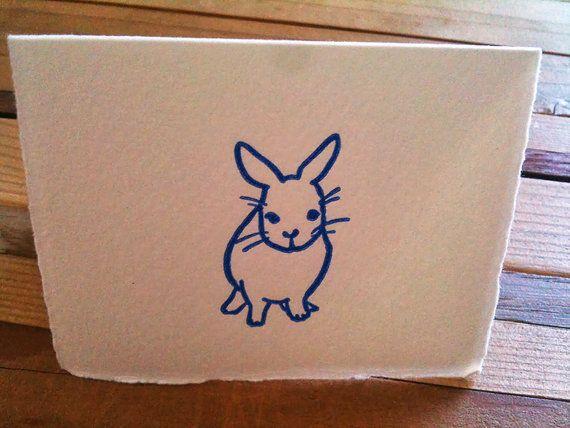 Letter Press Mini Card - Rabbit Pose: Front $3.00