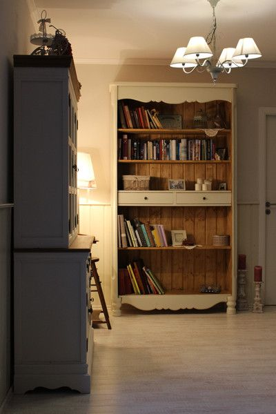 Bücherregale - Shabby chic Schrank Vintage Bücherregal Massivholz - ein…