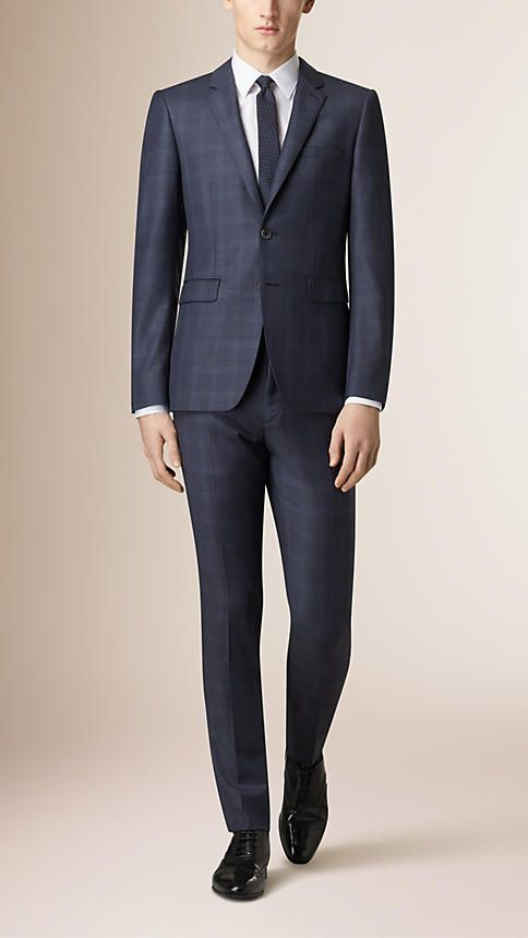 Burberry Navy Slim Fit Subtle Check Wool Suit - A slim fit suit with a short, closely fitted jacket with functional button cuffs and narrow tapered trousers crafted in wool. Discover men's tailoring at Burberry.com