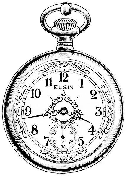 vintage watch magazine advertisement, antique Elgin pocketwatch, free vintage watch clipart, old watch graphic, black and white watch clip art
