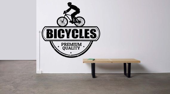 Removable Wall Decor Vinyl Sticker Mural Decal Shop Store Showcase Logo Signboard Bike Repair Badge Tools Sport Equipment Bicycle F1469