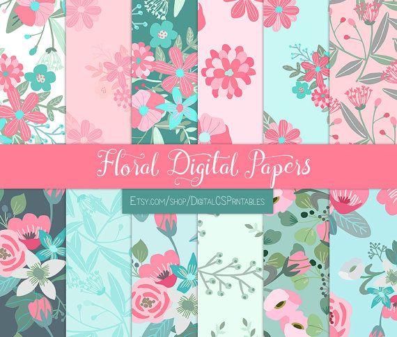 Floral digital paper floral Flower digital paper flower Summer digital paper Pink and mint floral scrapbook paper 12x12 commercial use by DigitalCSPrintables on Etsy