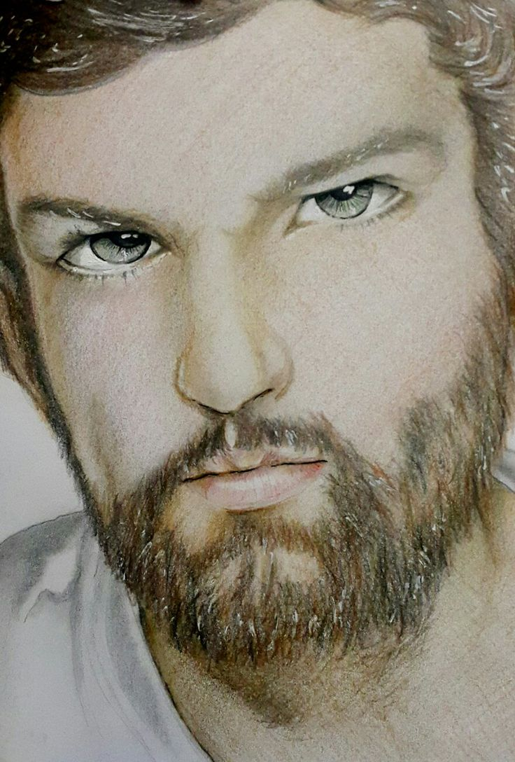 Handsome man in colored pencil