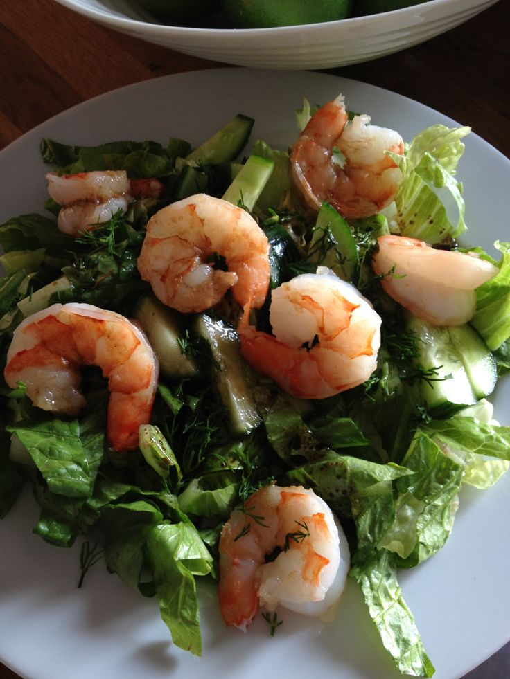 shrimp on a simple balsamic vinaigrette dressing salad with dill ...