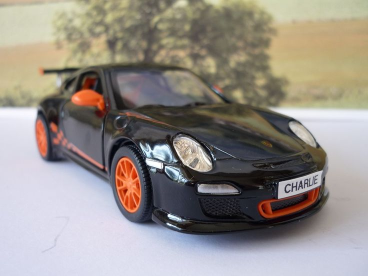 Personalised Plates Gift 2010 Black Porsche 911 Boys Toy Car