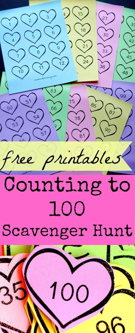 Counting to 100 Scavenger Hunt with free printable numbers.  Kindergarten math activity for kids or great 100th day of school activity.