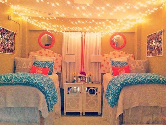 Dorm Room - Hanging string lights across ceiling, pink and blue colour scheme, symmetry String ...
