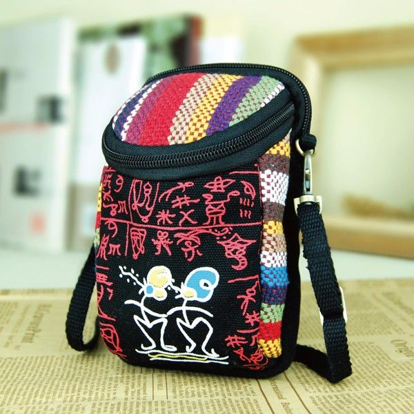 Canvas Cloth Totem Ethnic Adjustable Strap Shoulder Coin Wrist Camera Bag Purse For iPhone CellPhone