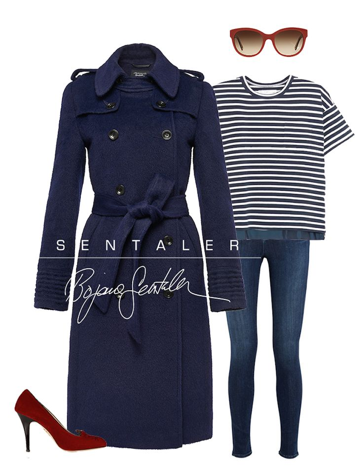 Navy Double Breasted Trench Coat