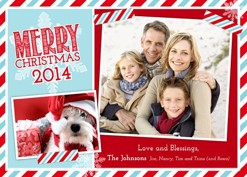 Stripes and Snowflakes (7×5) Holiday Christmas Photo Card template from Focus in Pix.