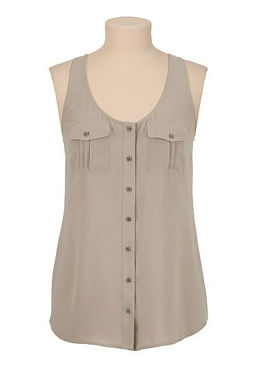 chiffon button down racerback tank (original price, $26) available at #Maurices