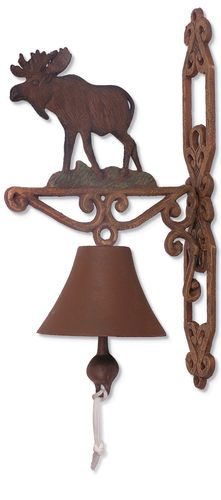 LOL Guess we could remove the door bell and use this instead. Moose Dinner Bell Rustic Cabin Decor
