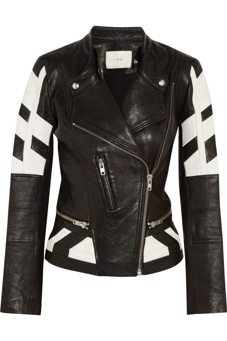 IRO|Hyde paneled leather biker jacket