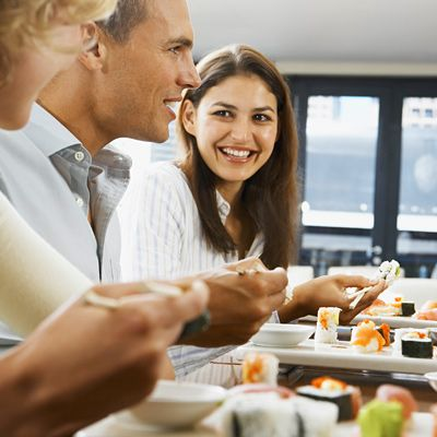 Try to limit dinner guests. Eating with seven or more other guests can make you eat 96% more food, says Brian Wansink, PhD, author of Mindless Eating.