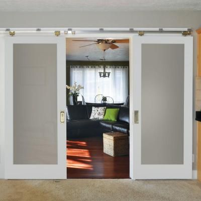 Masonite 36 in x 84 in primed white 1 lite frost solid wood interior barn door slab barn for Interior wood doors home depot