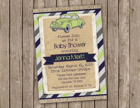Vintage Car Baby Shower Invitation  printable by PartyGirlPress