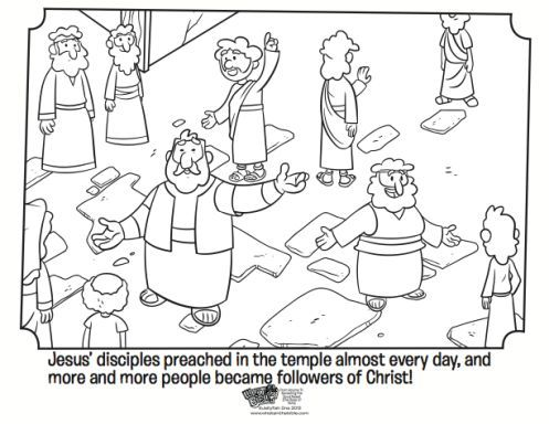 Peters First Sermon Coloring Page Acts