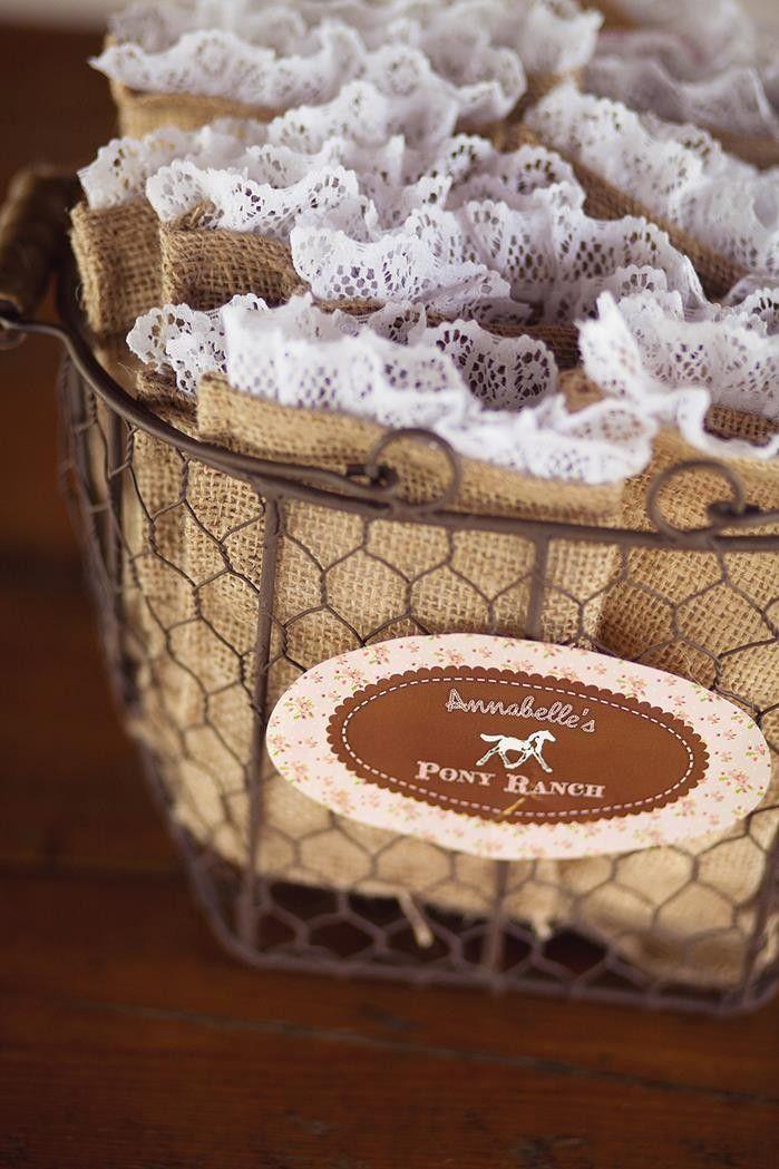 mini burlap favor bags, pony burlap favor bags with lace, summer wedding decor #2014 Valentines day wedding #Summer wedding ideas www.dreamyweddingideas.com