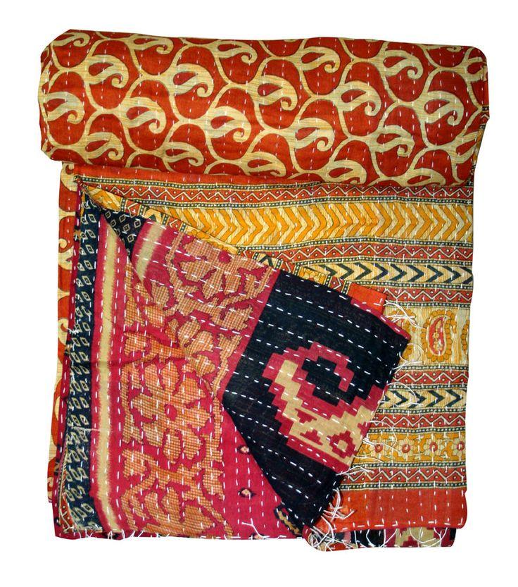 Handmade Quilt Vintage Twin Kantha Bedspread Throw Cotton Blanket Ralli Gudari #Unbranded #ArtDecoStyle