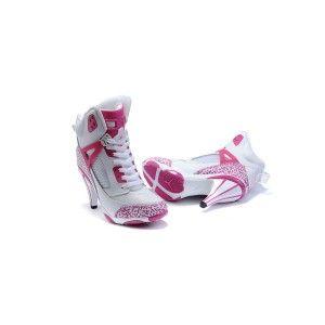 2013 Nike Air Jordan 3.5 Tacones Altos Zapatos Rojos/Blancos De Color Rosa Para Las Mujeres