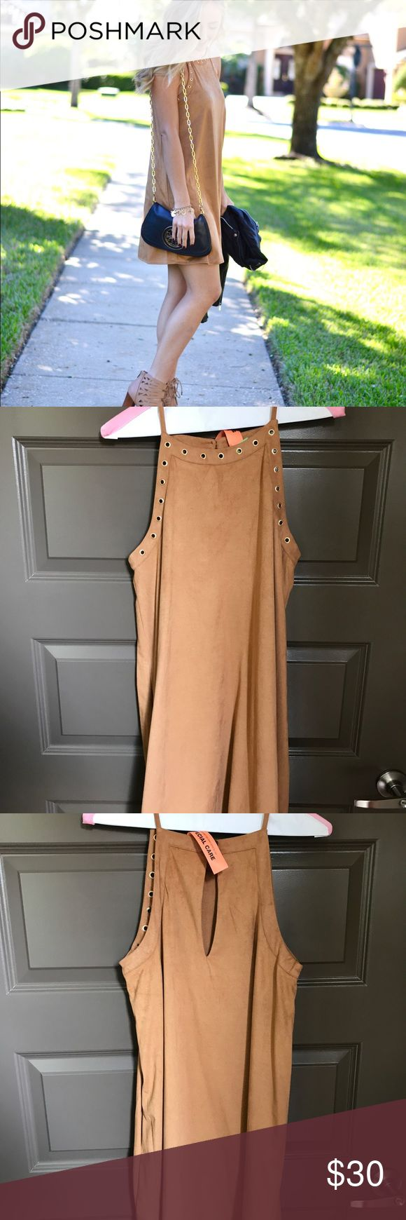 Suede Camel Dress Suede camel colored dress with gold details at the top Gianni Bini Dresses