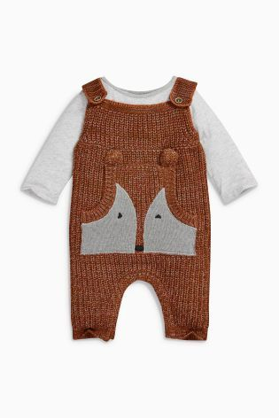 Buy Ginger Fox Knitted Dungarees (0mths-2yrs) online today at Next: Denmark