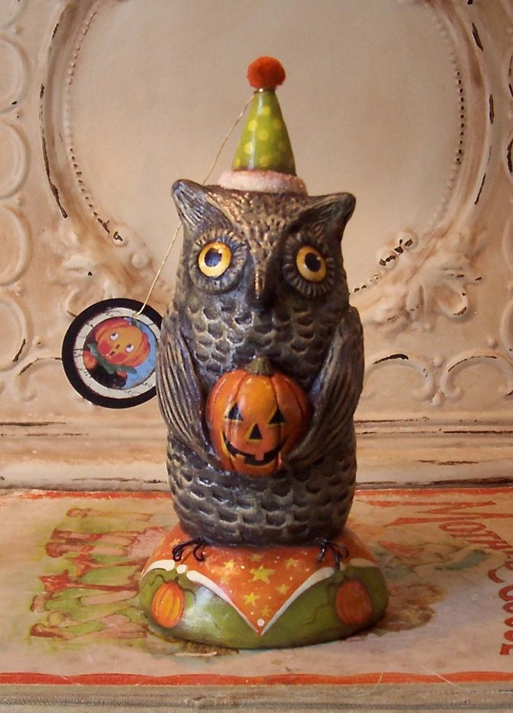 one of a kind owlbert hootens folk art halloween owl pumpkin jol vintage style sculpture