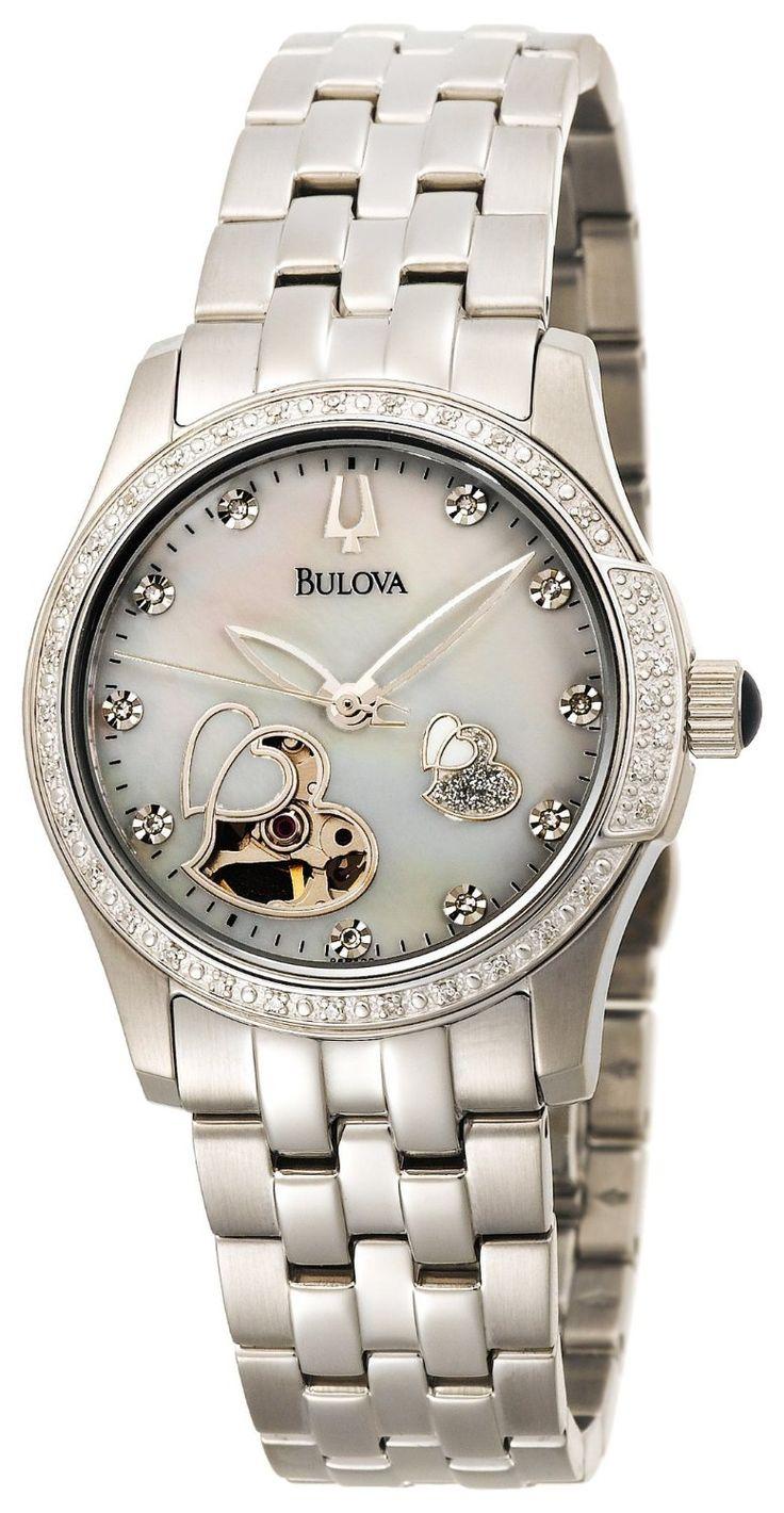 Bulova Women's 96R122 Diamond Accented Automatic Watch, (bulova, ladies diamond watch, ladies watch, watches, dress watches)