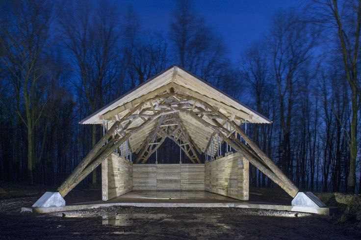 Robotically fabricated Woodchip Barn Students from London's Architectural Association School of Architecture created a robotically fabricated barn in a forest in Dorset, England. The structure uses 25 forks which were harvested from the forest and 3D scanned to determine the arrangement. Afterwards, the digital model was translated into fabrication information with which Hooke Park's new robotic arm transformed each fork into a finished component.
