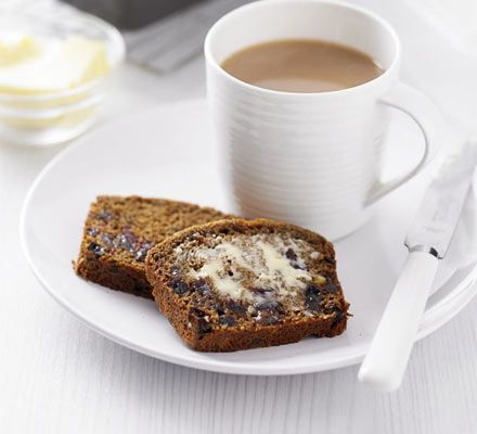 There's something very satisfying about a cup of tea with a slice of buttered malt loaf - this simple, good-for-you version makes two and improves on keeping