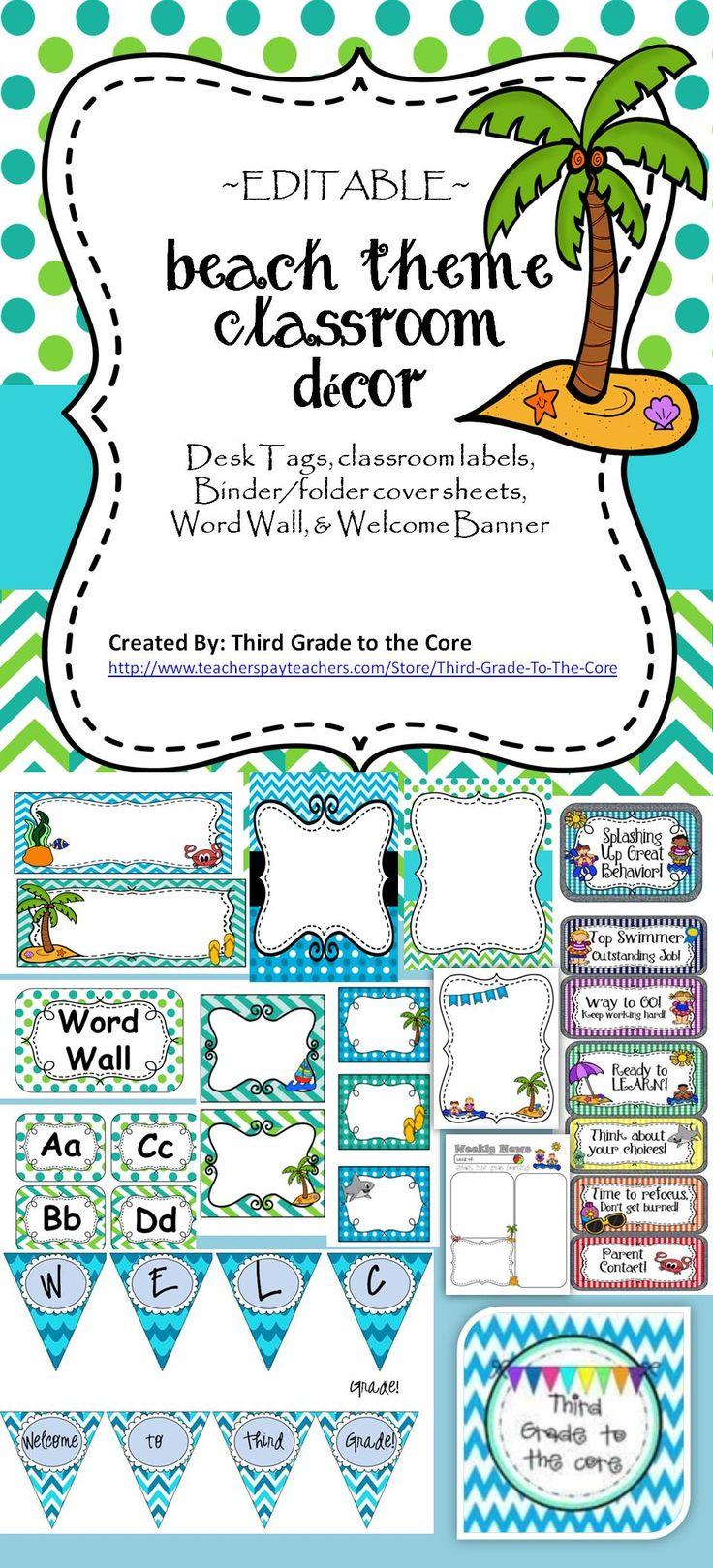 Classroom Decor Charts : Beach ocean theme classroom decor editable charts