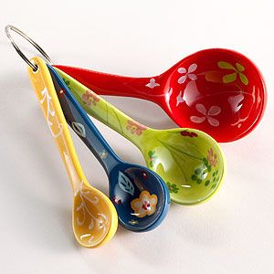 Floral Measuring Spoons | World Market, totally match's the color scheme I have planned for the kitchen.