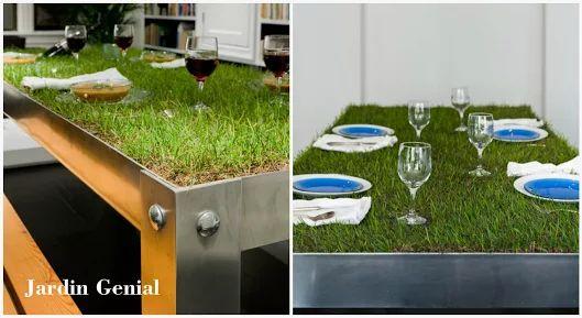 PicNYC table — творение голландского архитектора  Хайко Корнелиссена (Haiko Cornelissen).  Стол призван создать уголок  живой природы непосредственно  в вашем доме.   Обедая за таким столом,  вы можете ощутить себя  на загородном пикнике.  Дизайнер создал легкий, но прочный  стол из алюминия, столешница  которого разработана специально для формирования газона.   Там присутствует место для грунта,  на котором хорошо себя чувствует  зеленая трава.   #JardinGenial #ландшафтный_дизайн …
