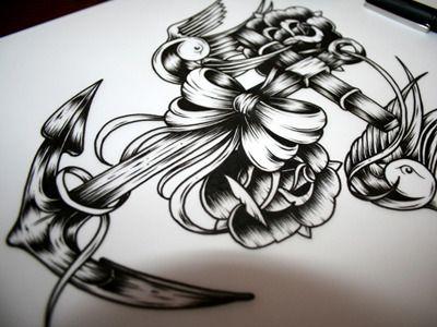 Anchor, roses, swallows & ribbon tattoo design / illustration - John Hobbs