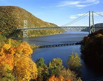 View of the Bear Mountain Bridge --The beautiful Hudson Valley boasts miles of tranquil settings, rolling hills, beautiful valleys, breathtaking vistas, and scenic mountains.