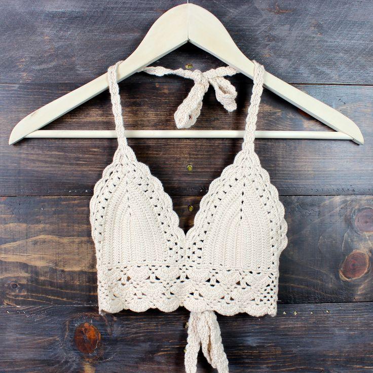 boho festival crochet crop top - nude cropped top gypsy hippie summer spring fashion